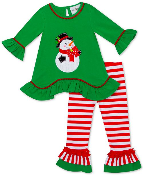 Rare Editions Little Girls 2-Pc. Snowman Top & Striped Leggings Set