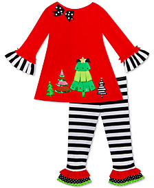 Rare Editions Little Girls 2-Pc. Holiday Trees Top & Striped Leggings Set