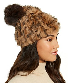 Rabbit Fur Pom Hat