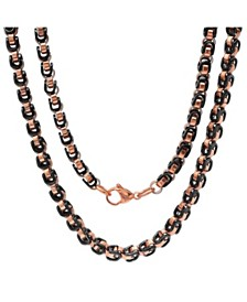 "Steeltime Men's black IP and 18k Rose gold Plated Stainless Steel 24"" Byzantine Chain Necklaces"
