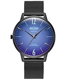 Men's Slim Black Stainless Steel Mesh Bracelet Watch 42mm