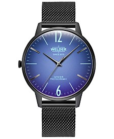 WELDER Men's Slim Black Stainless Steel Mesh Bracelet Watch 42mm