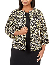 Plus Size Animal Printed Open-Front Blazer