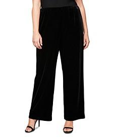 Plus Size Velvet Flat-Front Pants
