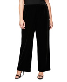 Alex Evenings Plus Size Velvet Flat-Front Pants