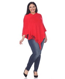 White Mark Plus Size Meera Fringe Poncho