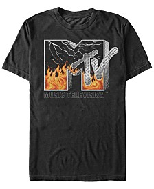 MTV Men's Fire And Lightening Logo Short Sleeve T-Shirt