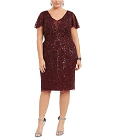 Plus Size Embellished Flutter-Sleeve Sheath Dress