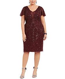 Adrianna Papell Plus Size Embellished Flutter-Sleeve Sheath Dress