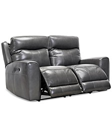 """Bitola 61"""" Leather Dual Power Loveseat, Created for Macy's"""