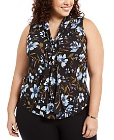 Plus Size Sleeveless Printed Bow-Neck Top