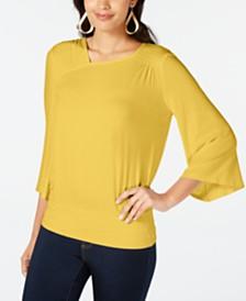 Thalia Sodi Smocked Flared-Sleeve Top, Created for Macy's