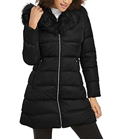 Hooded Fur-Trim Down Puffer Coat