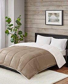 Reversible Micro Velvet and Sherpa Down Alternative Twin Comforter, Hypoallergenic