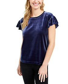 Velvet Flutter-Sleeve T-Shirt, Created For Macy's