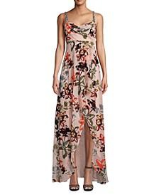 Draped Embellished-Shoulder Maxi Gown