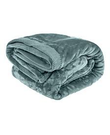 Elle Decor Silky Soft Plush Blankets with Corduroy Trim