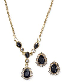 "Gold-Tone Crystal and Stone Lariat Necklace & Stud Earrings Set, 17"" + 2"" extender, Created For Macy's"