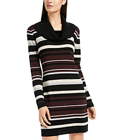 Juniors' Cowlneck Speckled-Stripe Sweater Dress