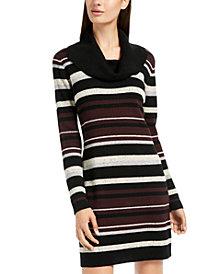 BCX Juniors' Cowlneck Speckled-Stripe Sweater Dress