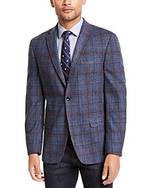 Men's Modern-Fit THFlex Stretch Blue Plaid Sport Coat