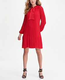 Long Sleeve Tie Neck Pleated Shift Dress
