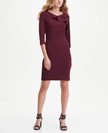 DKNY Ruffle V-Neck Sheath Dress