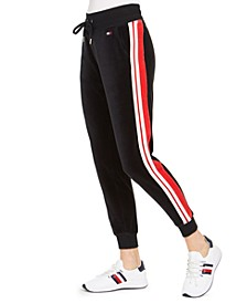 Velour Varsity Stripe Jogger Pants