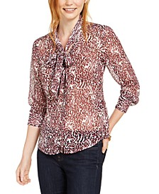 Animal-Print Tie-Neck Blouse, Created For Macy's