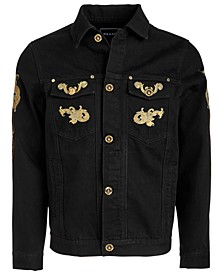 Men's Gold Leaf Embroidered Denim Jacket