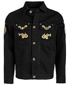 Men's Gold Leaf Embroidered Denim Jacket