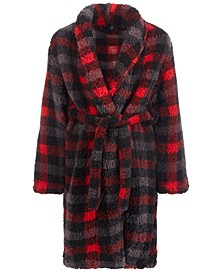 Little & Big Boys Faux-Sherpa Plaid Robe, Created For Macy's