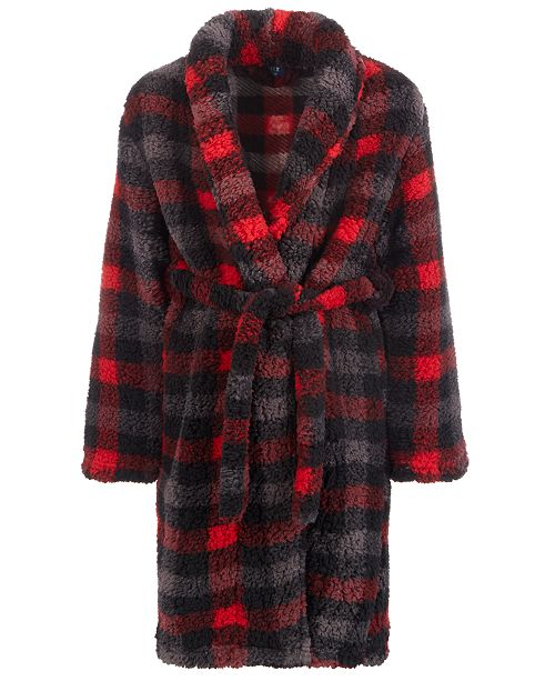 Max & Olivia Little & Big Boys Faux-Sherpa Plaid Robe, Created For Macy's