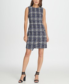 DKNY Tweed Logo Button Sheath Dress