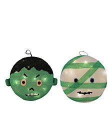 Set of 2 Battery Operated LED Lighted Mummy and Frankenstein Hanging Outdoor Halloween Decorations