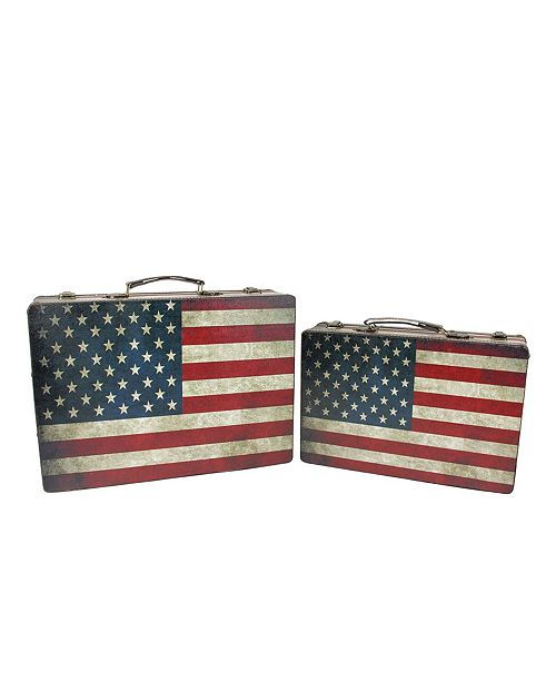 Northlight Set of 2 Rustic American Flag Rectangular Wooden Decorative Storage Boxes