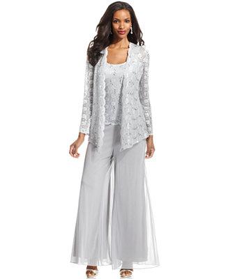 Alex Evenings Lace Jacket Set Amp Wide Leg Chiffon Dress