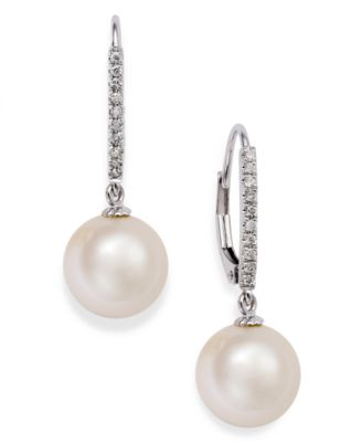 14k White Gold Freshwater Cultured Pearl Earring Jacket 5//8ct