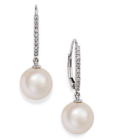 14k White Gold Earrings, Cultured Freshwater Pearl (10mm) and  Diamond ( 1/10 ct.t.w) Leverback Earrings