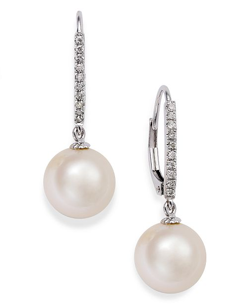 14k White Gold Earrings Cultured Freshwater Pearl 10mm And Diamond 1 10 Ct T W Leverback Also Available In Yellow Or Pink