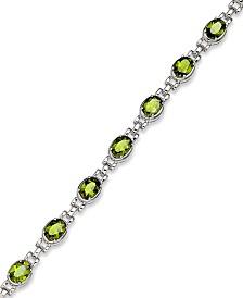 Sterling Silver Bracelet, Peridot Oval Link Bracelet (12 ct. t.w.)