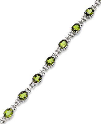 Sterling Silver Bracelet Peridot Oval Link Bracelet 12 ct t w