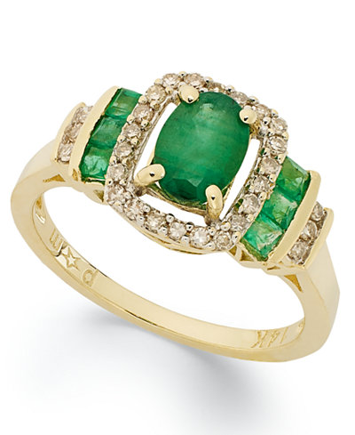 14k Gold Ring, Emerald (1 ct. t.w.) and Diamond (1/5 ct. t.w) Rectangle Ring
