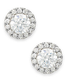 Diamond Round Halo Stud Earrings in 14k White Gold (1/3 - 1 ct. t.w.)