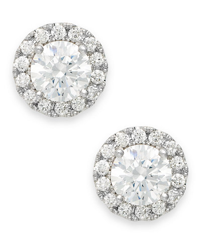Diamond Round Halo Stud Earrings in 14k White Gold (1/3 ct. t.w.)