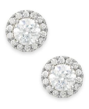 Diamond Round Halo Stud Earrings in 14k White Gold (1/3 ct. t.w.) -  Macy's