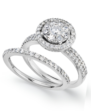 Diamond Engagement Ring and Wedding Band Ring in 14k White Gold (1-1/4 ct. t.w.)
