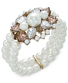 Gold-Tone Crystal, Stone & Imitation Pearl Double-Row Stretch Bracelet, Created For Macy's