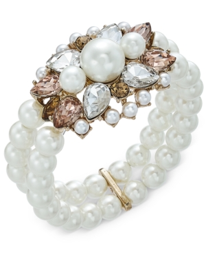 UPC 732997701072 product image for Charter Club Gold-Tone Crystal, Stone & Imitation Pearl Double-Row Stretch Brace | upcitemdb.com