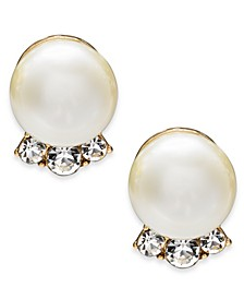 Gold-Tone Pavé & Imitation Pearl Stud Earrings, Created For Macy's